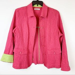 COLDWATER CREEK PINK AND GREEN CUFFED BLAZER SZ L